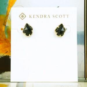 NWOT Kendra Scott Tessa Black Opaque Stud Earrings Gold Tone