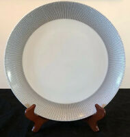 "Crate & Barrel Pinstripe Black White Rimmed Dinner Plate(s) 11"" Porcelain EUC!"
