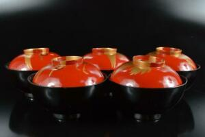#8037: Japanese XF Wooden Bird gold lacquer pattern LID BOWL Bundle sale
