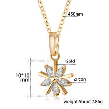 Women Yellow Gold Filled Small Flower Crystal Pendant Clavicle Chain Necklace
