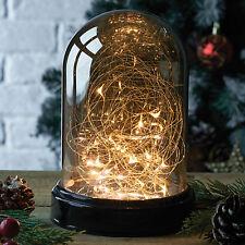 Con SPECCHIO Rame Vetro Campana di vetro e 20 Luci LED cablato a Cupola lampada da tavolo di Natale