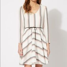 Maje Womens Ravel Striped A-line Dress Size 1 XS/S White Long Sleeve Mini C3