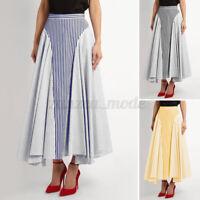 UK Womens Pleated High Waist Dress Jersey Gypsy Ladies Long Maxi Skirt Size 8-26