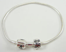 "Petals by Halia Sterling Silver Charm Universal Bracelet 6.5"" Safety Clip"