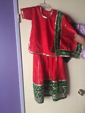 Red Lehenga Choli Ghagra Indian Dress Ethnic Belly Dance Costume Girls 5-6yrs