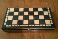 Folding WOODEN CHESS Board Game and Backgammon