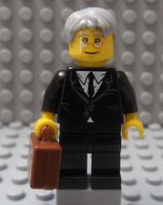 LEGO Minifig Businessman Older Man Owner Boss Rupled Black Suit Executive Agent