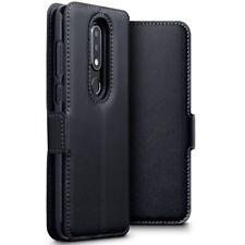 Nokia 6.1 Plus Estuche tipo Billetera Cuero Genuino Delgado Con Soporte en Negro
