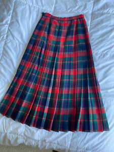 VINTAGE 80s TALBOTS Long RED PLAID PLEATED SKIRT 💯% Wool Made In CANADA 🇨🇦
