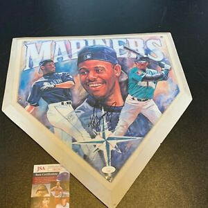 Nice Ken Griffey Jr. Signed Full Size Home Plate Art With JSA COA Mariners