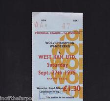 1975/76 WOLVERHAMPTON WANDERERS V WEST HAM UNITED 27-09-1975 Division 1 Ticket
