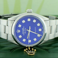 Rolex Air-King 34MM Smooth Bezel Oyster Watch 5500 w/Imperial Blue Diamond Dial