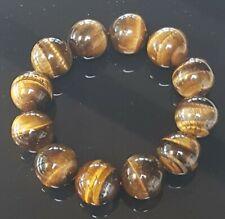 Brown Tigers Eye Stone Agate Chalcedony Big 19mm Bead Bracelet Bangle 106 Grams