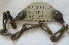 PID51 PLAQUE IDENTITE DOG TAG  FRANCE  CLASSE 1921 MARSEILLE