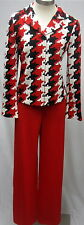St John NWT Red Black White Jacket Pants SUIT 6 $1800