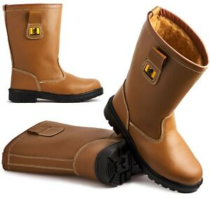 Womens Leather Safety Steel Toe Cap Work Calf Rigger Biker Boots Ladies Shoes Sz