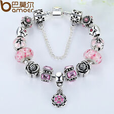 2015 Luxury European Charm Bracelets DIY With Pink Flowers Murano Zircon Beads