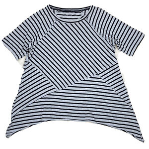 Calvin Klein Performance Tunic Top Gray Black Striped Asymmetrical Hem 1X