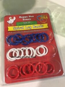 Happy Hen Size 11 Chicken Spiral Leg ID Bands 24 ct Made in USA
