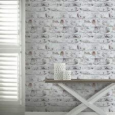 WHITEWASHED WALL BRICK WALLPAPER - WHITE - ARTHOUSE 671100 NEW