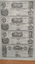 Michigan Bank of Washtenaw Uncut Sheet of Obsolete Currency - 5s and 10 In Frame