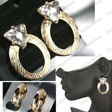 CLIP ON 4cm big HOOPS earrings GOLD/SILVER rhinestone glass CRYSTAL hoop CLIPS