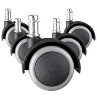 Set of 5 Heavy Duty Office Chair Caster 2-INCH Rubber Swivel Wheels Replacement