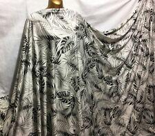 NEW*Premium Quality Stretch Viscose Jersey Monochrome Leaves Print Dress Fabric