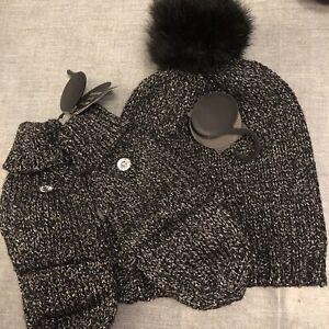 Black Sparkle Hat And Gloves Set
