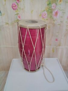 Dholak drum  Indian two- headed hand metallic purplely pink  drum