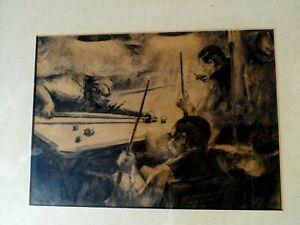 BEN LASSEN ARTIST SIGNED CHARCOAL DRAWING OF BILLIARDS