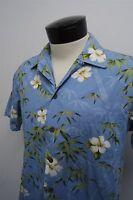 RARE! VTG RJC USA blue hibiscus Hawaiian floral camp shirt sz M mens S/S#1613
