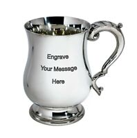 NEW Personalised 1 Pint Georgian Polished Pewter Tankard Any Message Engraved