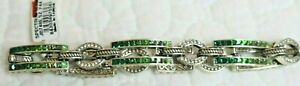Brighton SPECTRUM GLAM NWT $128 Stunning Green Crystal Bar Silver Link Bracelet