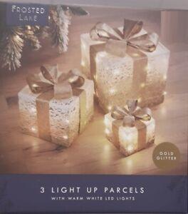 Frosted Lake 3 Light Up Parcels Festive Xmas Gift Warm Led Parcel Set Decoration