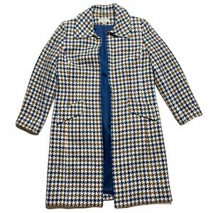 Womens Open Front Houndstooth Jacket Coat Tan Blue 14 Petite