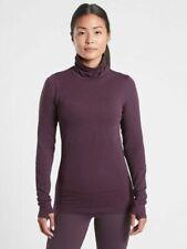 NEW Athleta S Agate Purple Flurry Blizzard Shine Turtleneck Top Small 4 6