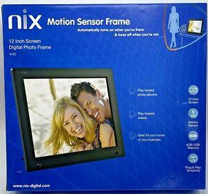"NIX 12"" Digital Photo Frame Black Remote Hu-Motion Sensor with 4GB Memory"