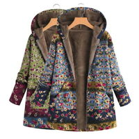 Women Warm Long Coat Floral Printed Hooded Jacket Winter Parka Outwear Plus Size