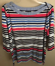 NWT~TOMMY HILFIGER PLUS~STRIPED 3/4 SLEEVE BOATNECK SHIRT/TOP~SIZE 3X~NEW