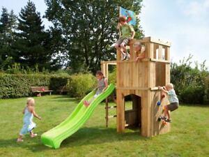 Spielturm Garten Spielhaus Holz Stelzenhaus Kinderspielhaus mit Rutsche grün