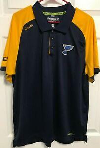 ST LOUIS BLUES Men Navy Gold Center Ice Short Sleeve Golf Polo Shirt XL Reebok
