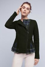 NEW Anthropologie Lelia Peplum Jacket Sz M 8 10 Medium Green -Monogram