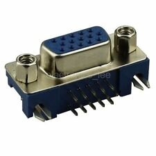 DR15 Female Three-row 15 pin Right Angle VGA Socket Connector for PCB Mount