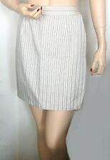 ROCCO BAROCCO Pret a Porter MINI SKIRT White Black Khaki STRIPES Cotton EUC! XS