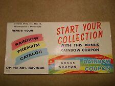 VINTAGE 1950'S GENERAL MILLS BONUS RAINBOW COUPON BOOKLET! SEND AWAY PREMIUMS!