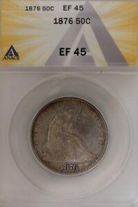 1876  .50   ANACS   EF 45  1800's Half Dollar, Liberty Seated Half