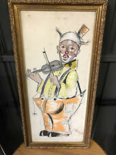 Drawing of Clown playing the Violin.  Artist J.Reeves