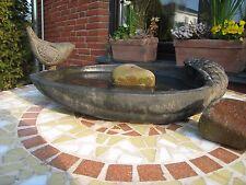 Vogeltränke Vogelbad Muschel antik braun Terracotta Stein Garten Deko