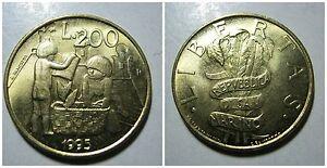 Repubblica di SAN MARINO 200 Lire 1995 unc/fdc da serie zecca